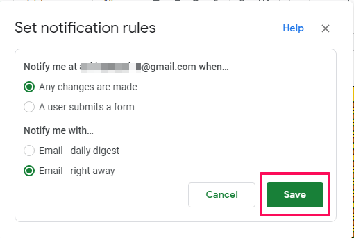 set notification rules tab