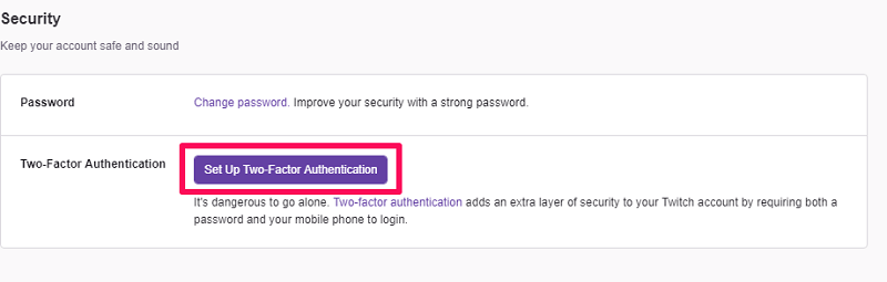 enable two factor authentication on Twitch