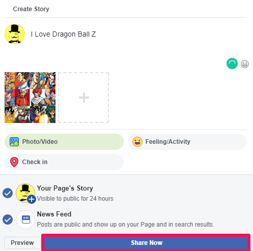 share the facebook page story using desktop