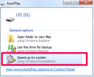 speed up system using readyboost