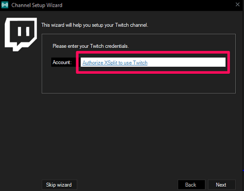 start xsplit authorization