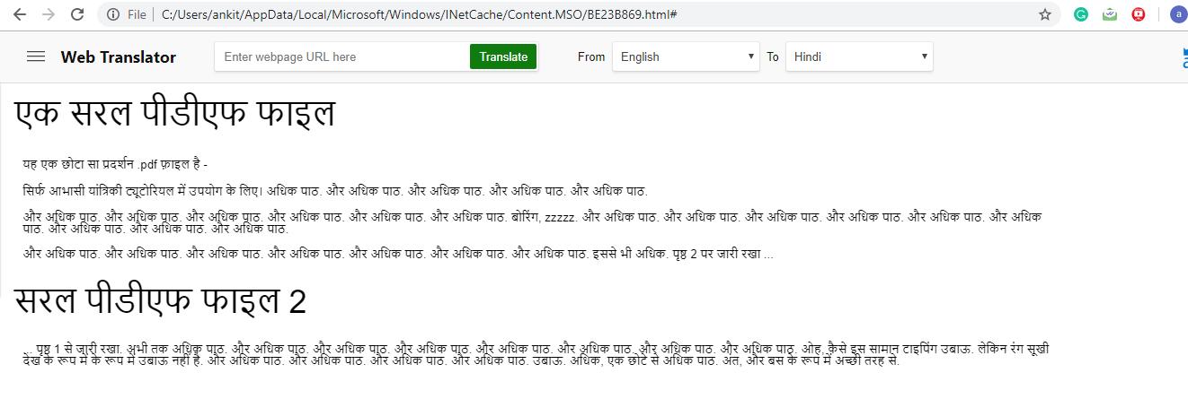 translated PDF document using Word