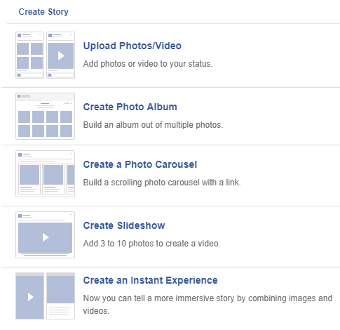 add story on Facebook page from PC