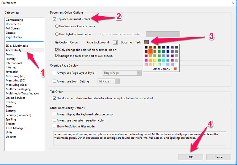 change text color in PDF on Mac