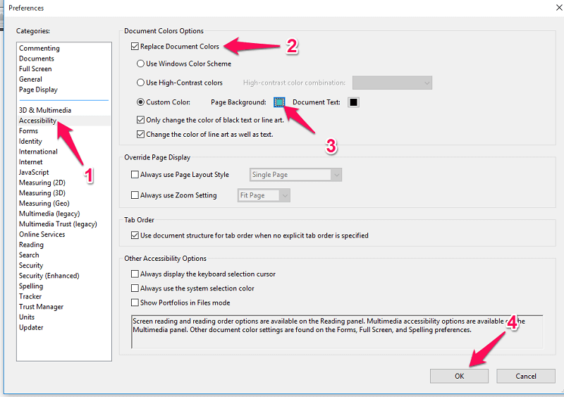 change background color in PDF