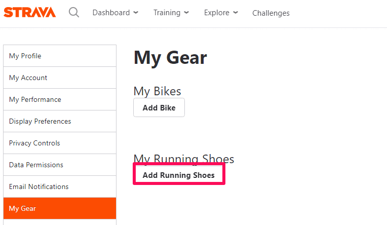 add shoes to Strava