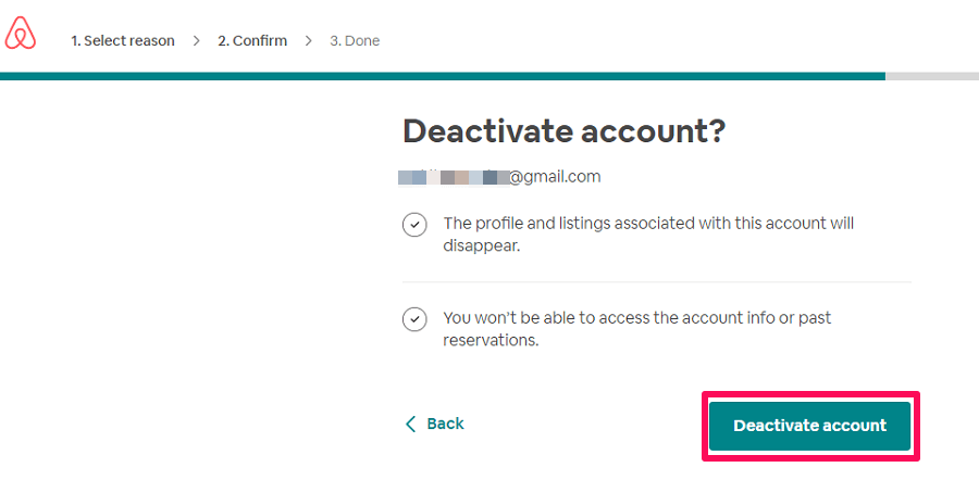 Deactivate Airbnb account