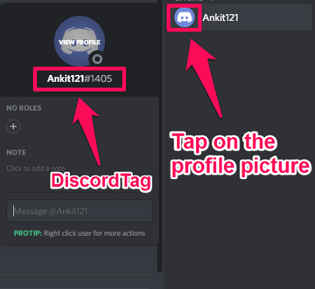 Discord tag and username
