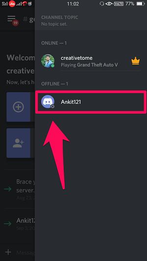 Discord user menu