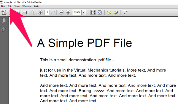 PDF file in Adobe reader