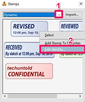 change stamp information in adobe Reader