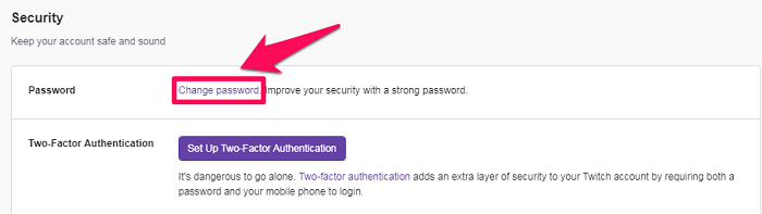 change your twitch password