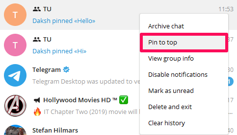 chat pinned in telegram desktop