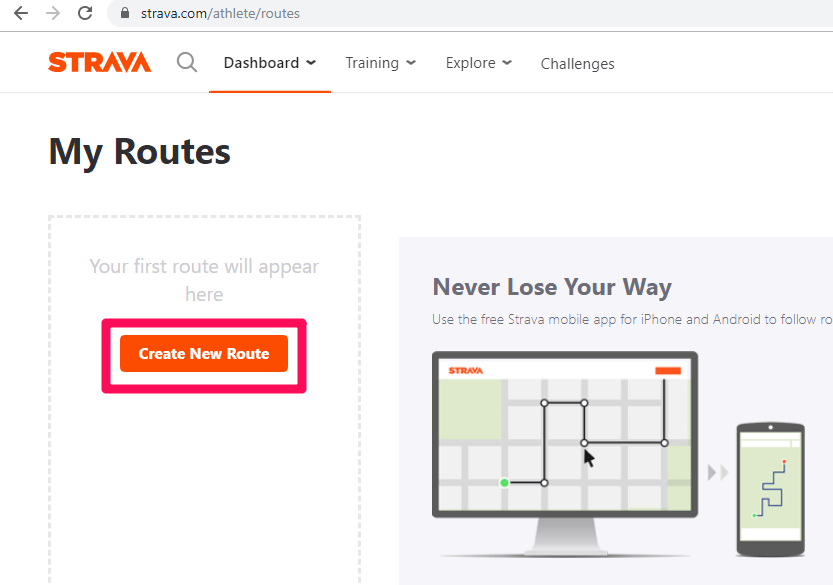 create new routes on Strava