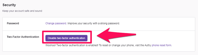 disable two factor authentication