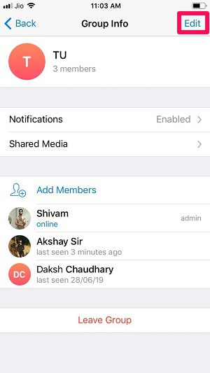 edit telegram group settings iOS