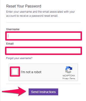 get instructions to reset password