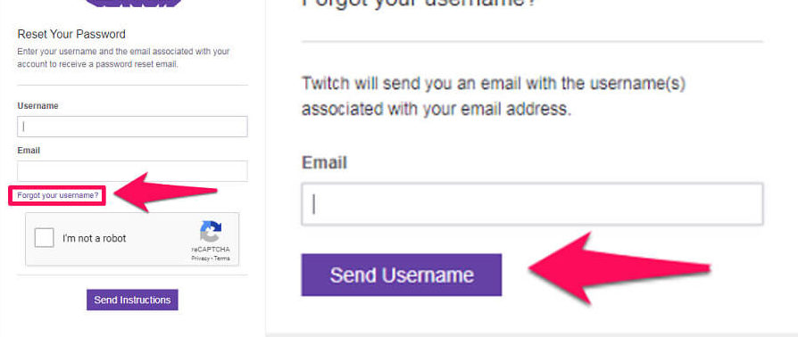 get your username through email