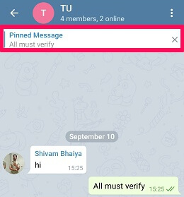 how to pin message in Telegram using android app