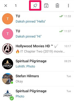 pin telegram chats using android