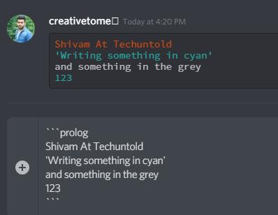 rainbow text on Discord