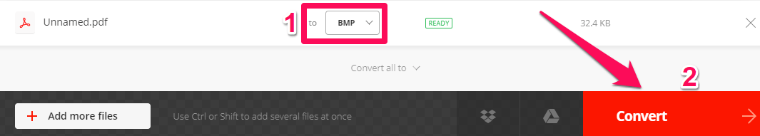 select bmp format and convert file in convertio