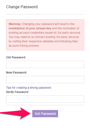 set new password for Twitch