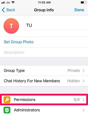 telegram group permission iOS