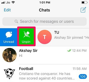 unpin chat in telegram using iOS
