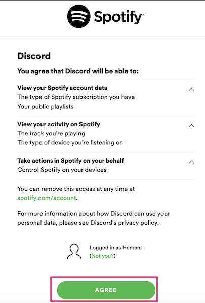 Allow Discord to access Spotify account