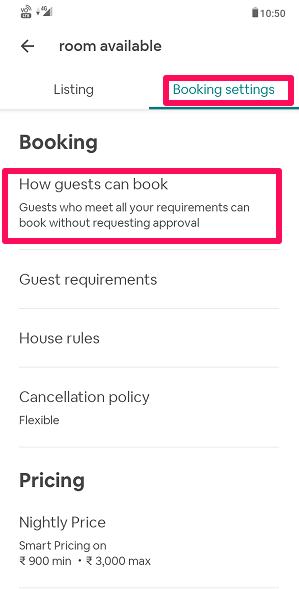 Booking settings on app