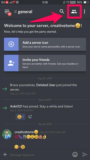 Discord server member list
