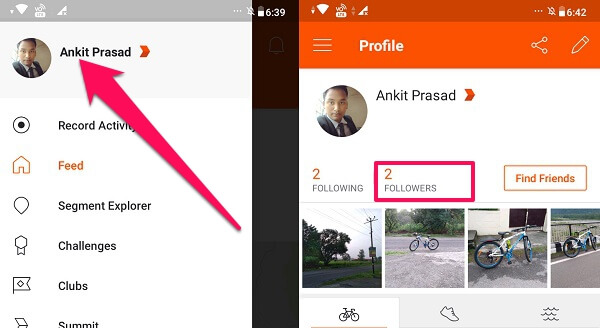 Followers on Strava app