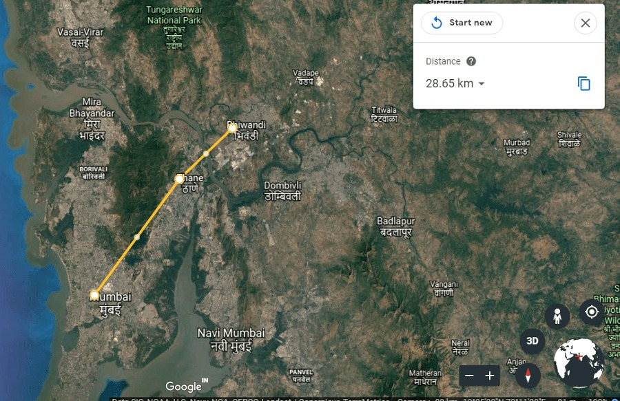 Measure Distance between two points In Google Earth Online
