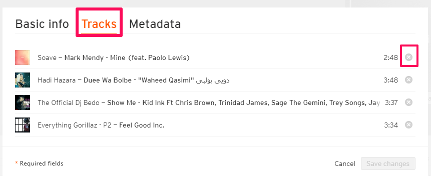 Playlist tracks delete and rearrange