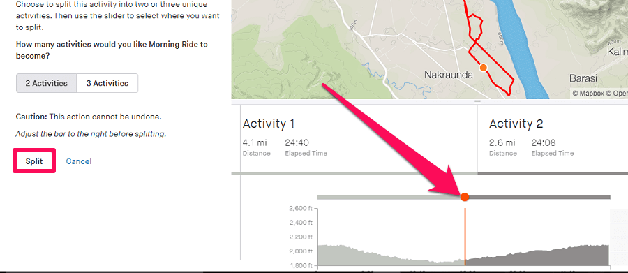 Split activity on strava