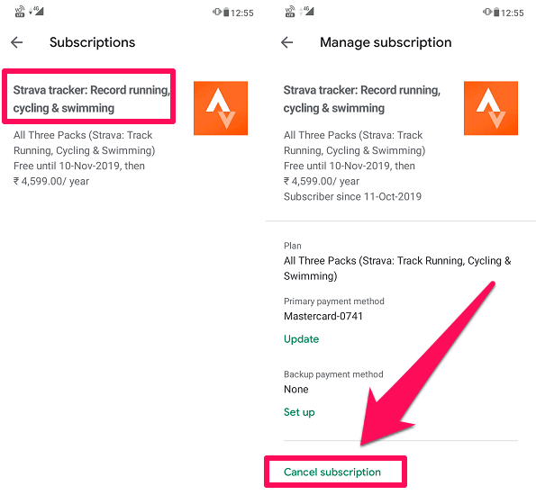 Strava summit cancelation on Play Store Android