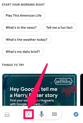 activate google lens from assistant on Android