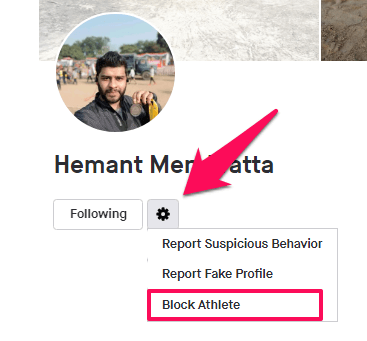 block athlete from web