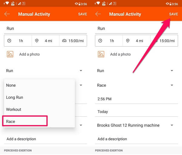 tag run as a race on Strava app