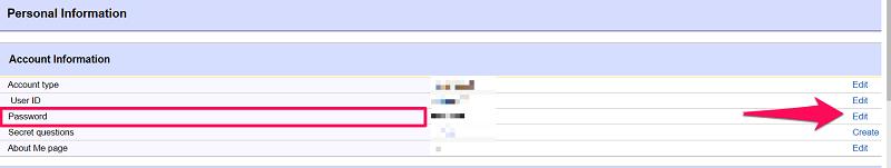 change ebay password