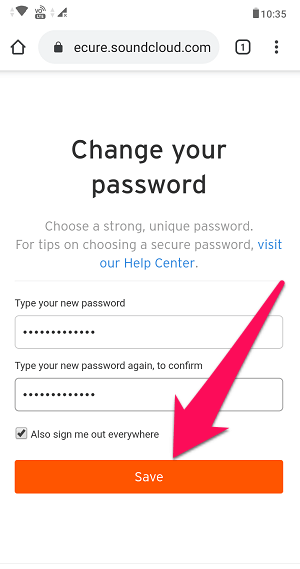 reset your password on SoundCloud app