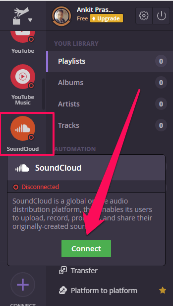 connect to soundcloud