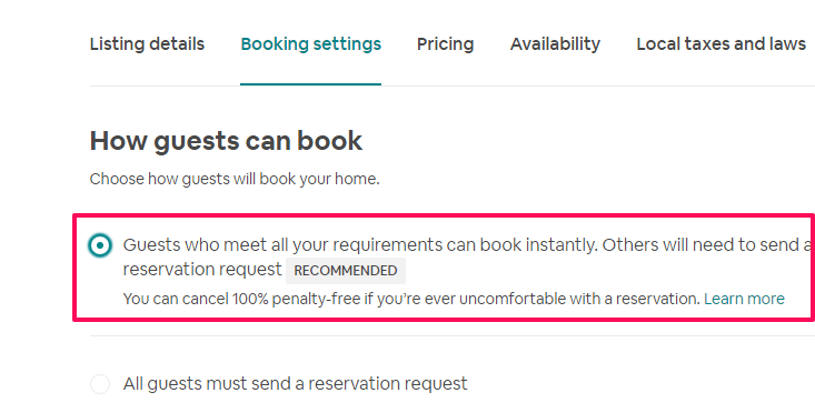 turn on instant booking on Airbnb