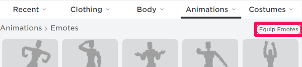 equip emotes on roblox