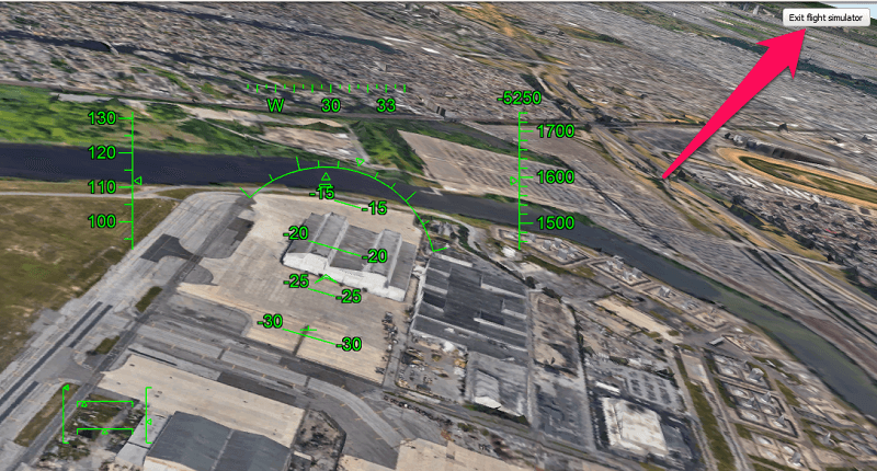 Google Earth Flight Simulator controls - exit the flying mode
