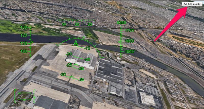 Google Earth Flight Simulator controls - exit the flying mode