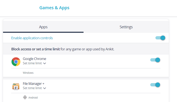 games and apps monitoring
