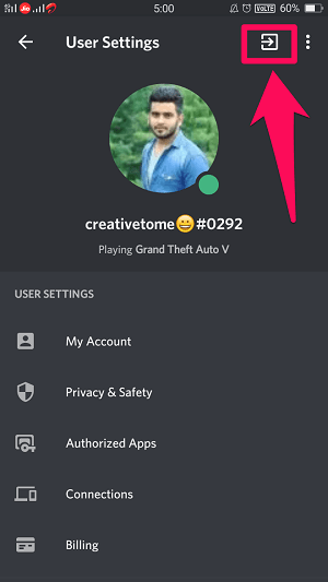 logout of Discord on Android