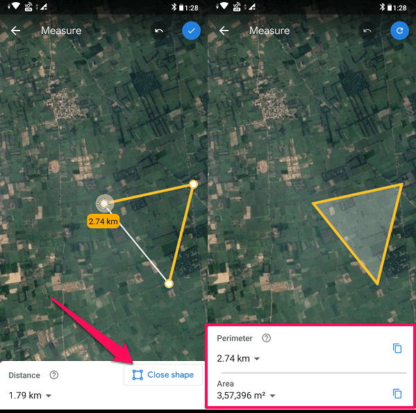 measure area on google earth app